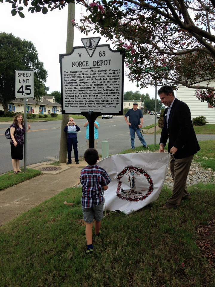 Norge Depot Virginia Historical Marker Unveiled